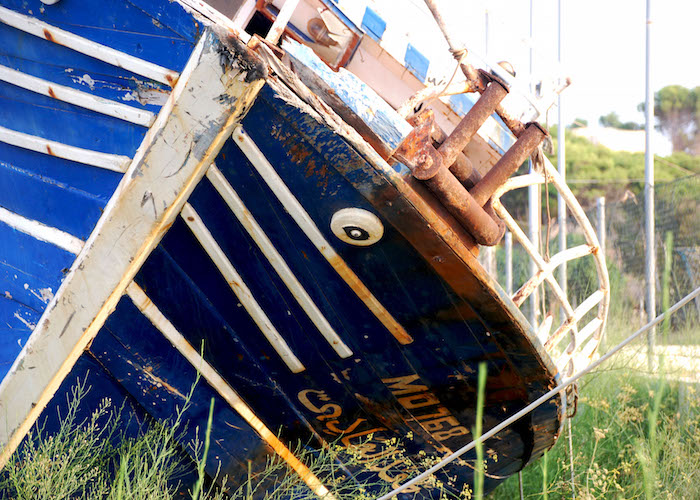 Abandoned ship used by migrants in Lampedusa